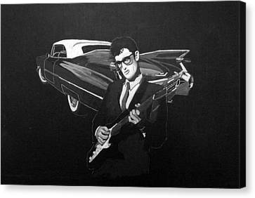 Canvas Print featuring the painting Buddy Holly And 1959 Cadillac by Richard Le Page