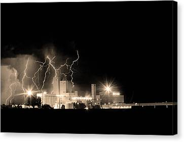 The Lightning Man Canvas Print - Budweiser Lightning Thunderstorm Moving Out Bw Sepia by James BO  Insogna