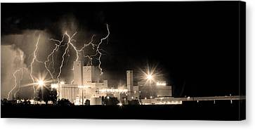 The Lightning Man Canvas Print - Budweiser Lightning Thunderstorm Moving Out Bw Sepia Panorama by James BO  Insogna