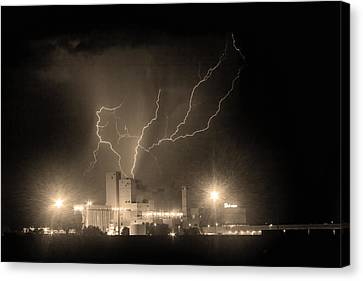 The Lightning Man Canvas Print - Budweiser Powered By Lightning Sepia by James BO  Insogna