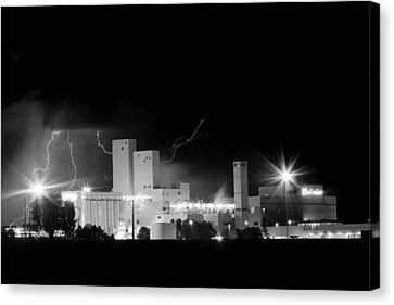 The Lightning Man Canvas Print - Budwesier Brewery Lightning Thunderstorm Image 3918  Bw by James BO  Insogna
