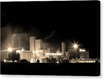 Budwesier Brewery Lightning Thunderstorm Image 3918  Bw Sepia Im Canvas Print by James BO  Insogna