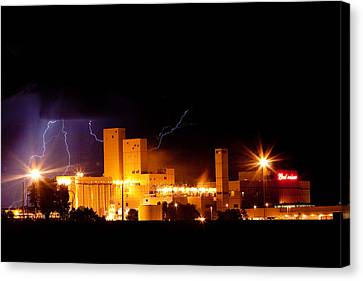 Budwesier Brewery Lightning Thunderstorm Image 3918 Canvas Print by James BO  Insogna