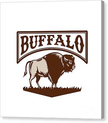 Buffalo American Bison Side Woodcut Canvas Print by Aloysius Patrimonio