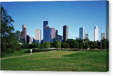 Jogging Canvas Print - Buffalo Bayou Park - Houston by Mountain Dreams