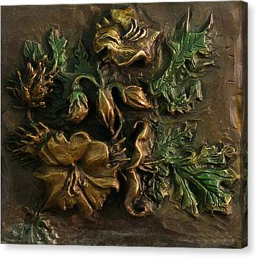 Canvas Print featuring the relief Buffalo Bur Flower From Snowy Range Life by Dawn Senior-Trask