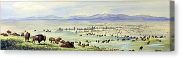 Buffalo Coming To Water. Watercolor Canvas Print by Everett