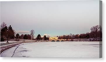 Canvas Print featuring the photograph Buffalo History Museum Across Hoyt Lake by Chris Bordeleau