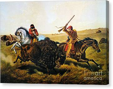 Buffalo Hunt, 1862 Canvas Print by Granger