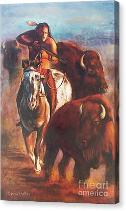 Canvas Print featuring the painting Buffalo Hunt by Karen Kennedy Chatham