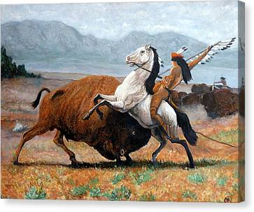 Canvas Print featuring the painting Buffalo Hunt by Tom Roderick