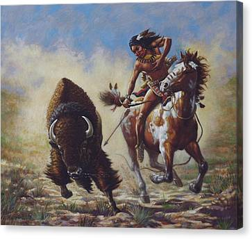 Buffalo Hunter Canvas Print by Harvie Brown