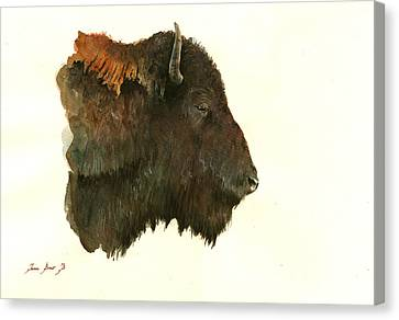 Buffalo Portrait Head Canvas Print by Juan  Bosco
