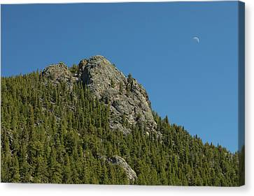 Canvas Print featuring the photograph Buffalo Rock With Waxing Crescent Moon by James BO Insogna