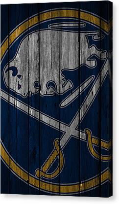 Buffalo Sabres Wood Fence Canvas Print by Joe Hamilton