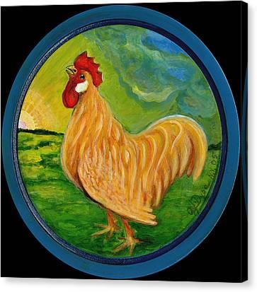 Polish Folk Art Canvas Print - Buffy The Rooster by Anna Folkartanna Maciejewska-Dyba