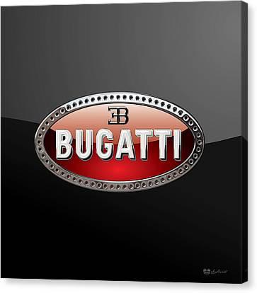 Bugatti - 3d Badge On Black Canvas Print by Serge Averbukh