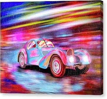 Canvas Print featuring the mixed media Bugatti In The Rain - Vintage Dreams by Mark Tisdale