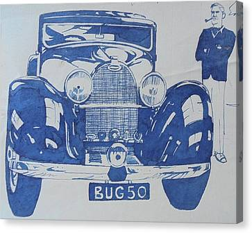 Canvas Print featuring the drawing Bugatti by Mike Jeffries