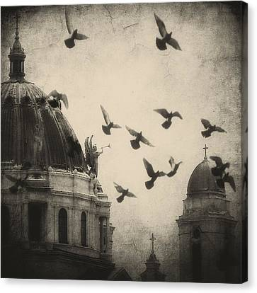 Bugle Blowing Church Angel And Birds Canvas Print