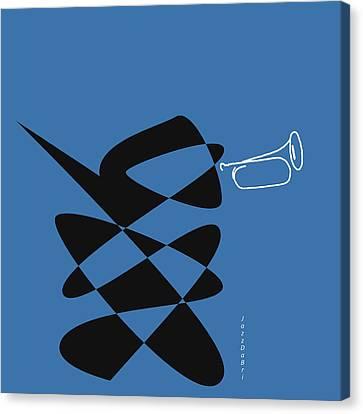 Canvas Print featuring the digital art Bugle In Blue by David Bridburg