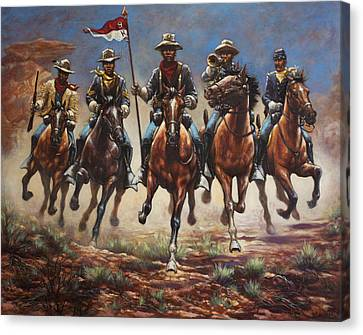 Soldiers Canvas Print - Bugler And The Guidon by Harvie Brown