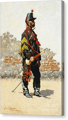 Bugler Of The Cavalry Canvas Print by Frederic Remington