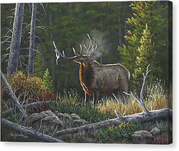 Canvas Print featuring the painting Bugling Bull by Kim Lockman