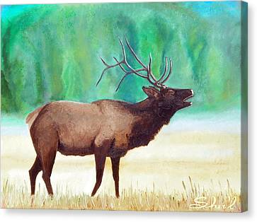 Canvas Print featuring the painting Bugling Elk by Sherril Porter