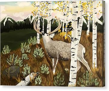 Bugling Mule Deer Canvas Print