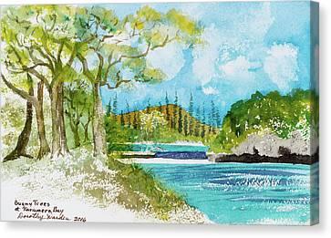 Bugny Trees At Kanumera Bay, Ile Des Pins Canvas Print