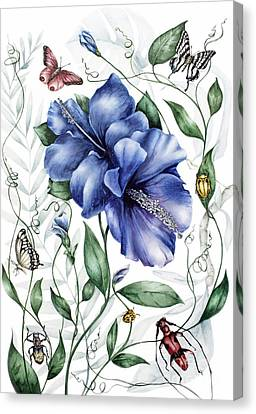 Bugs And Blue Hibiscus Canvas Print by Marie Burke