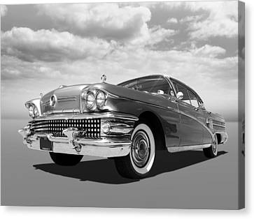 Buick Roadmaster 75 In Black And White Canvas Print by Gill Billington