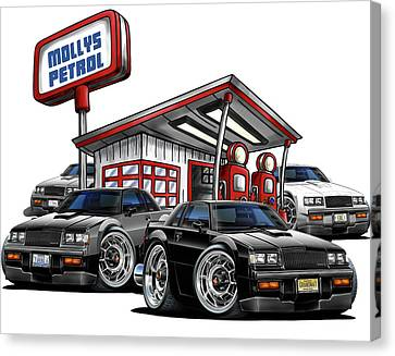 Buicks At Mollys Gas Station Canvas Print by Maddmax