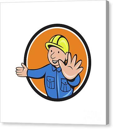 Builder Hand Stop Signal Circle Cartoon Canvas Print by Aloysius Patrimonio