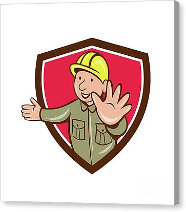 Builder Hand Stop Signal Crest Cartoon Canvas Print