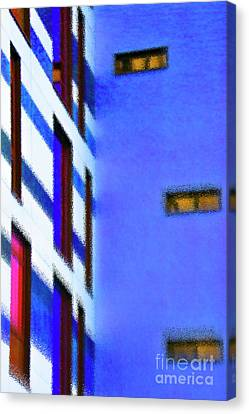 Canvas Print featuring the digital art Building Block - Blue by Wendy Wilton