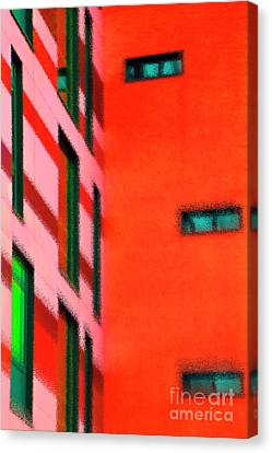 Canvas Print featuring the digital art Building Block - Red by Wendy Wilton