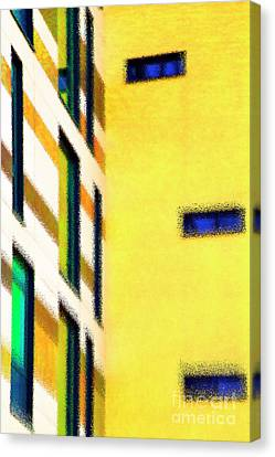 Canvas Print featuring the digital art Building Block - Yellow by Wendy Wilton