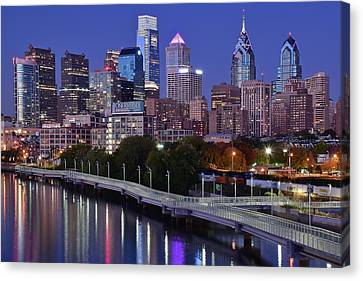 Rocky Statue Canvas Print - Building Cluster In Philly by Frozen in Time Fine Art Photography