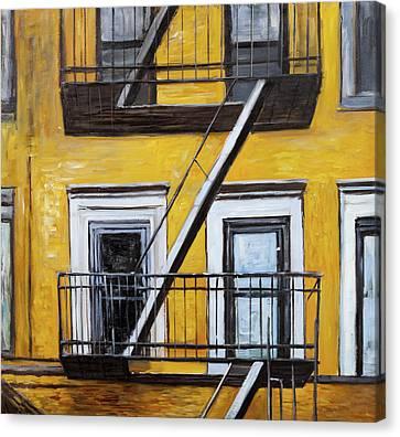 Building Old Fire Escape Canvas Print