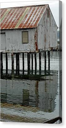 Building Over Water Canvas Print by Matthew Adair