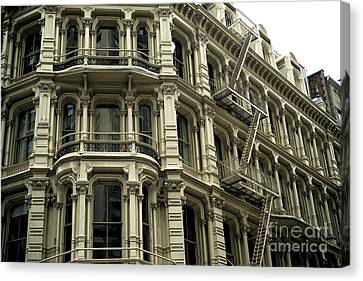 Fire Escape Canvas Print - Building Style In New York City by John Rizzuto