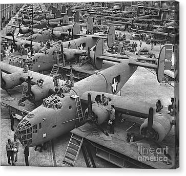 Produce Canvas Print - Building The B24 Fleet 1943 Bw by Padre Art