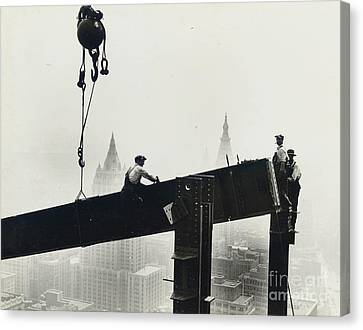 Danger Canvas Print - Building The Empire State Building by LW Hine