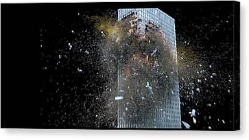 Canvas Print featuring the digital art Building_explosion by Marcia Kelly