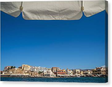 Buildings Along The Harbour  Chania Canvas Print by Dosfotos