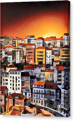 Orange Canvas Print - Buildings In The Sunset by Amy Cicconi