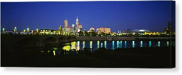 Buildings Lit Up At Dusk, Indianapolis Canvas Print