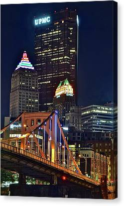 Buildings Towering Over Pittsburgh Canvas Print by Frozen in Time Fine Art Photography